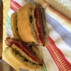 Italian sandwich on ciabatta bread