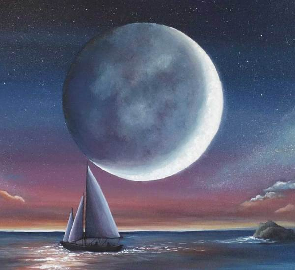 Moonlight Sailboat Painting Sail Under Moonlight Blue