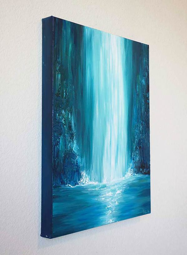 Blue Falls Waterfall Painting Liz Fine Art