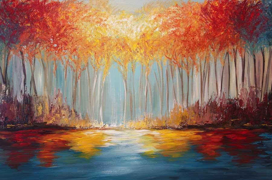 Autumn Tree Painting Original Return to Autumn Painting  Liz W Art