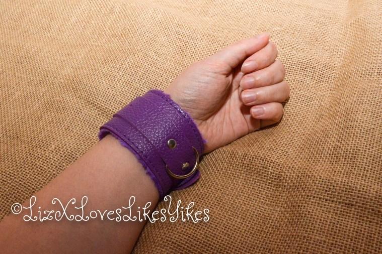 BDSM Set - Purple Copyright Liz BlackX  The wrist cuff around my arm