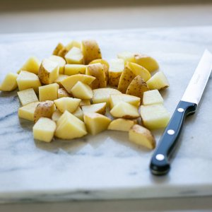 chopped potatoes for easy homemade oven chips