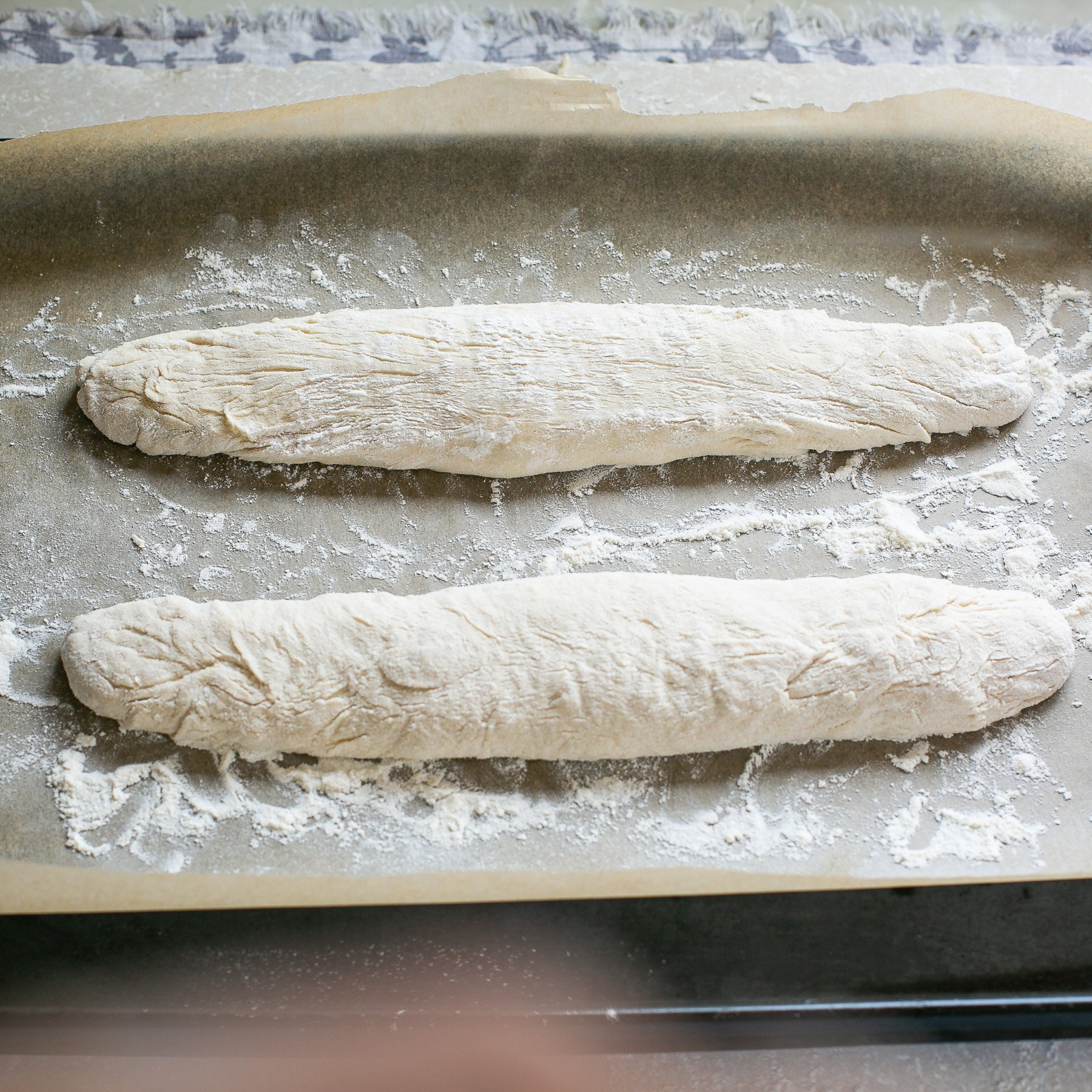 French baguettes ready to bake