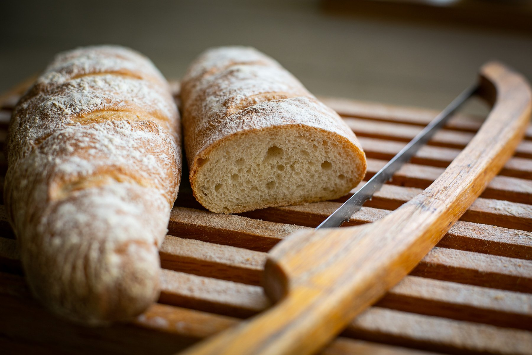 Sliced french baguette