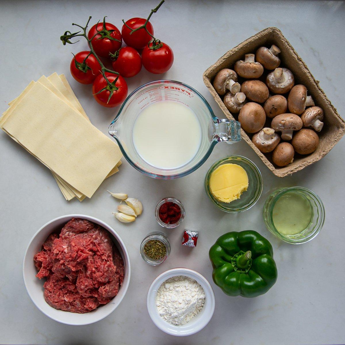 Ingredients for homemade lasagne