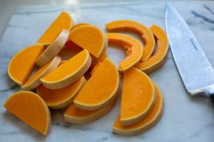 thinly sliced butternut squash for roasted squash with pomegranate and almonds