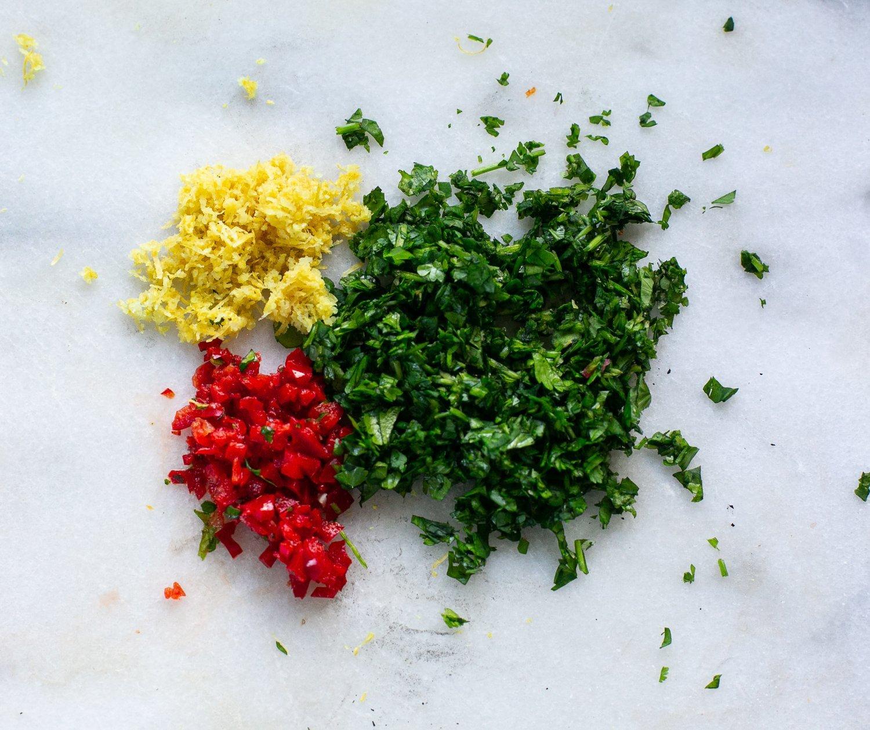 chopped chilli and coriander and lemon zest for chilli coriander yoghurt dip