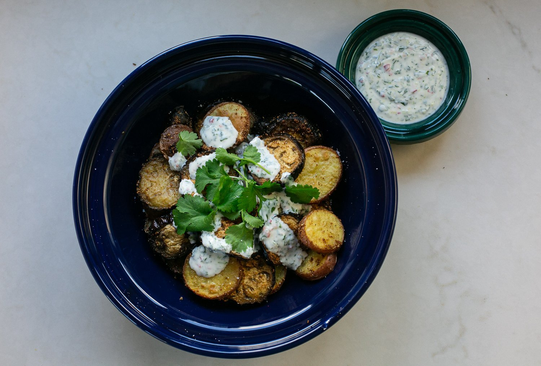 curried aubergine and potato and chilli coriander dip