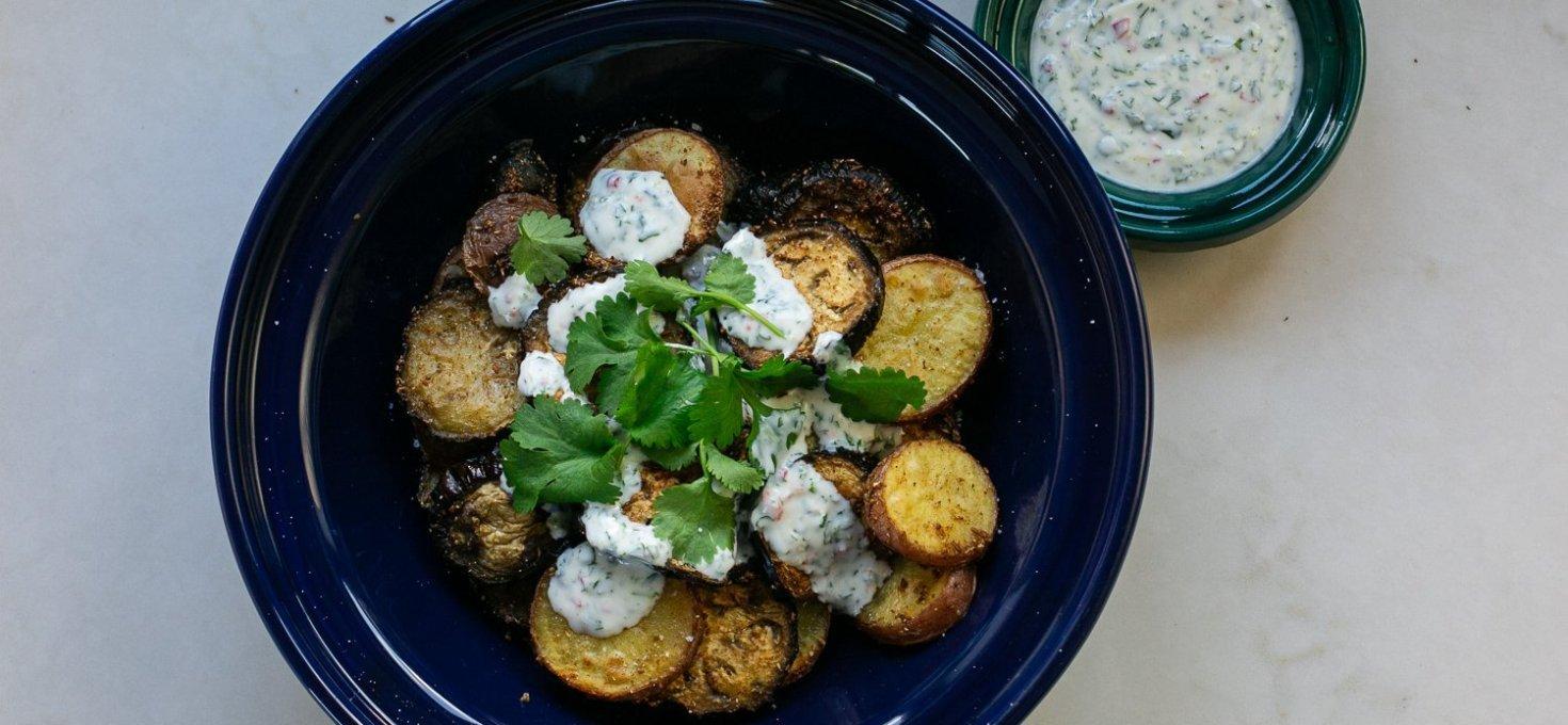Curried Aubergine and Potato with Chilli Coriander Yoghurt