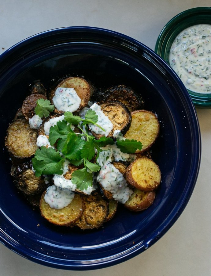 Curried Aubergine and Potato with Chilli Coriander Yoghurt
