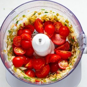 Tomatoes for Salsa dip in a food processor