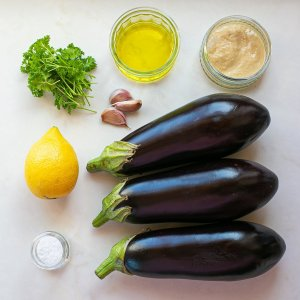all the ingredients needed to make baba ganoush