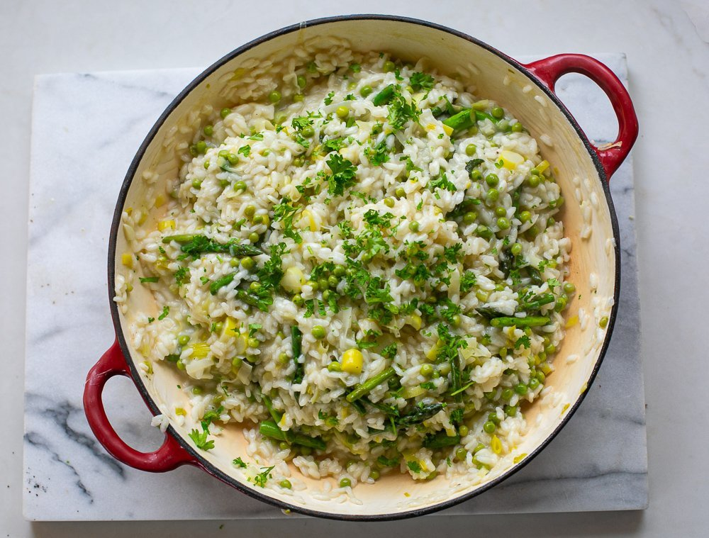 Finished Asparagus Pea and Leek risotto in a pan
