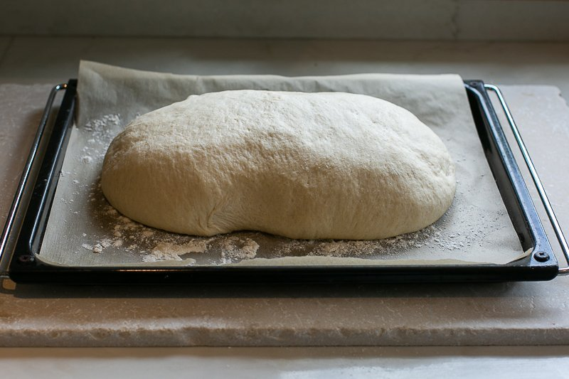 Bloomer loaf ready to bake after its second rise