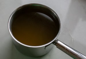 Vegetable stock in a pan
