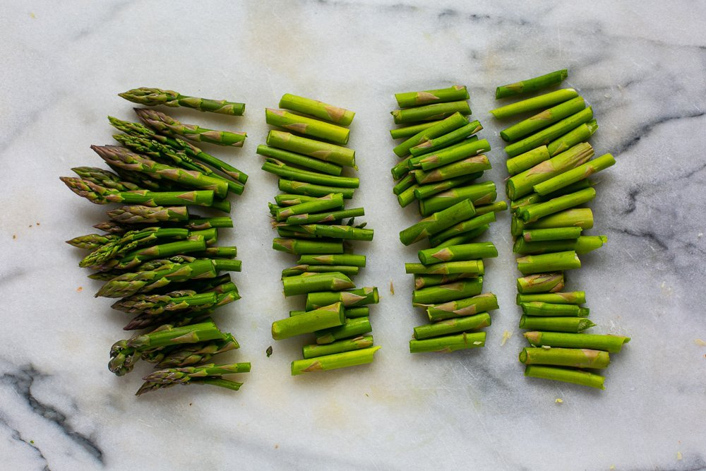 Chopped asparagus for a risotto recipe