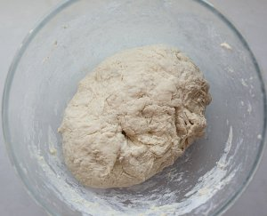 maneesh bread dough in a bowl before kneading