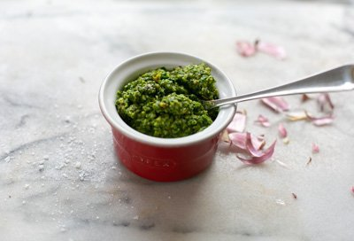 Fresh pesto in a ramekin dish ready to go in pasta dish