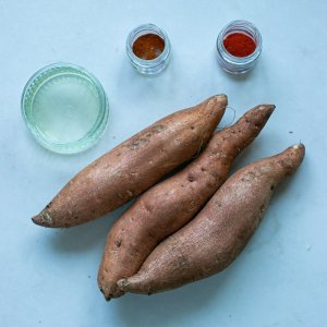 All the ingredients needed for paprika spiced sweet potato fries