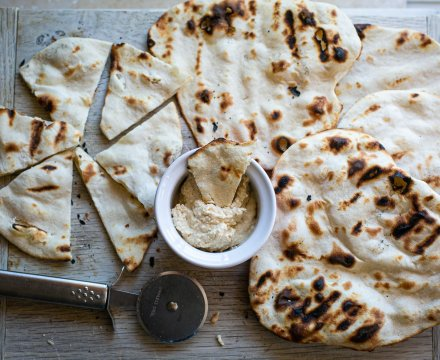 Flatbreads cooked on a BBQ