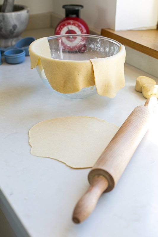 Rolled flatbread dough ready for baking