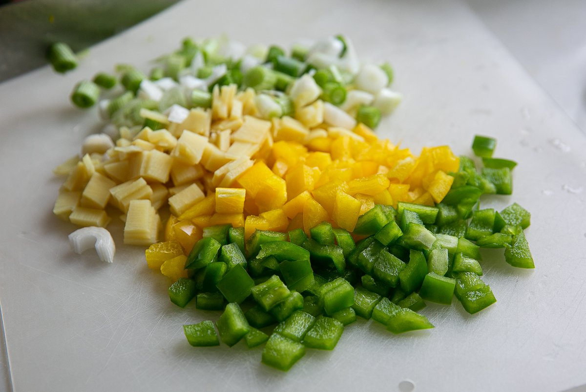 chopped vegetables for Sticky Pork Stir Fry