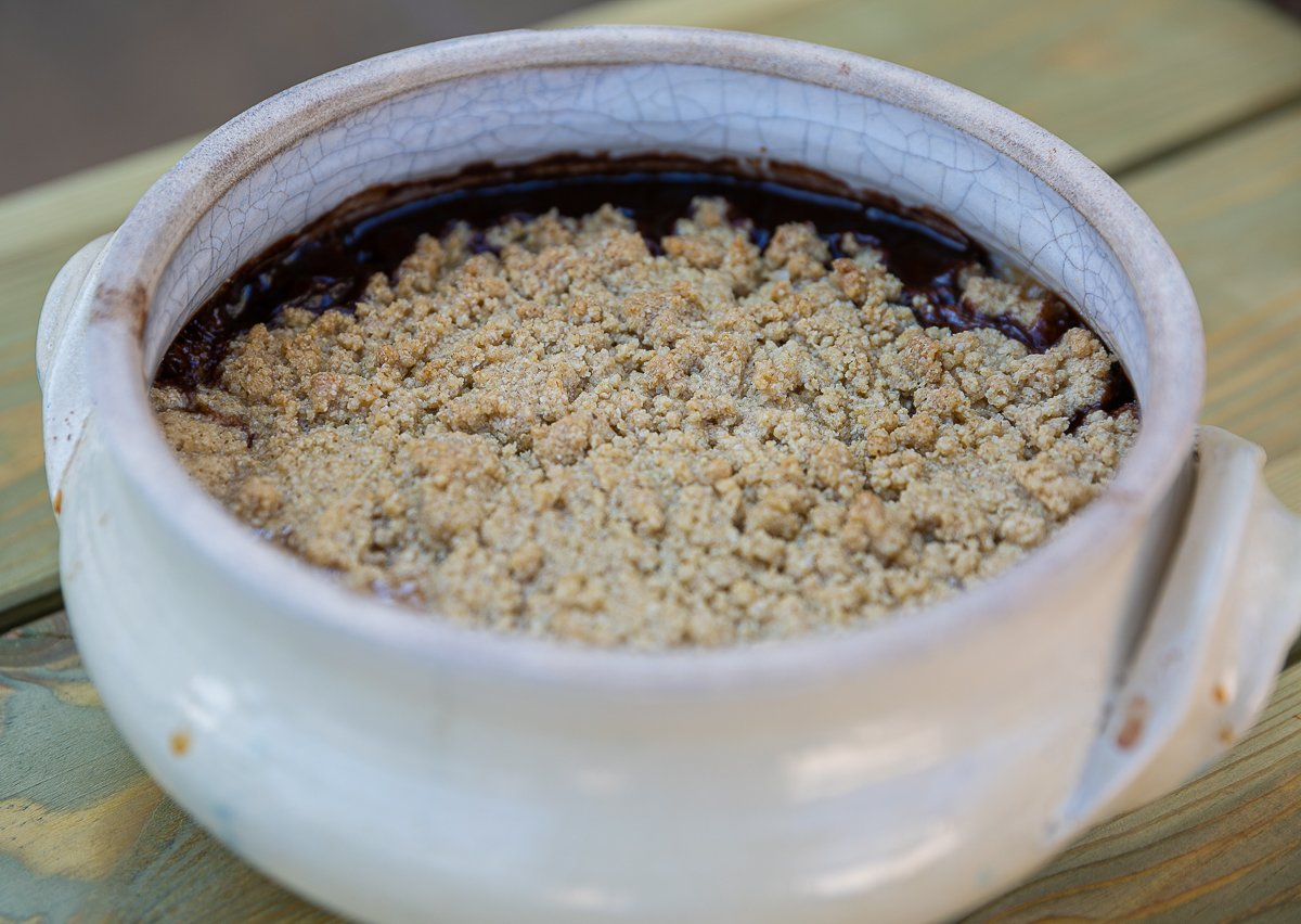 freshly baked pear and chocolate crumble