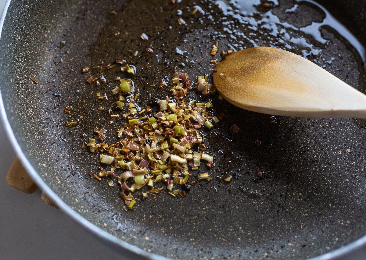 fried lemongrass in a pan