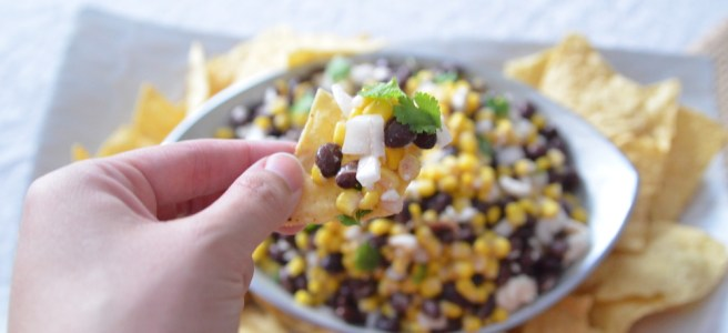 corn bean and feta dip
