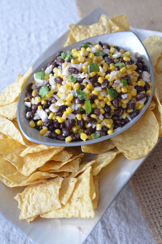 Corn, bean, feta dip