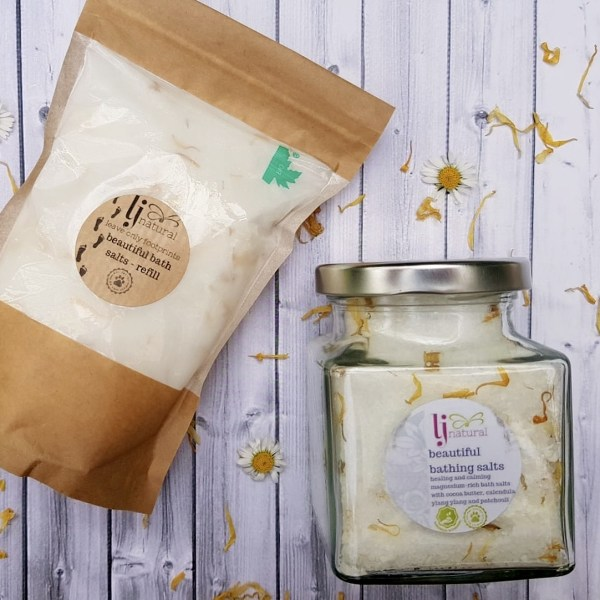 magnesium bath salts in glass jar or zero waste biodegradable pouch