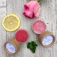 rosie rhubarb organic lip gloss in biodegradable packaging