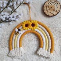 macrame bee rainbow handmade