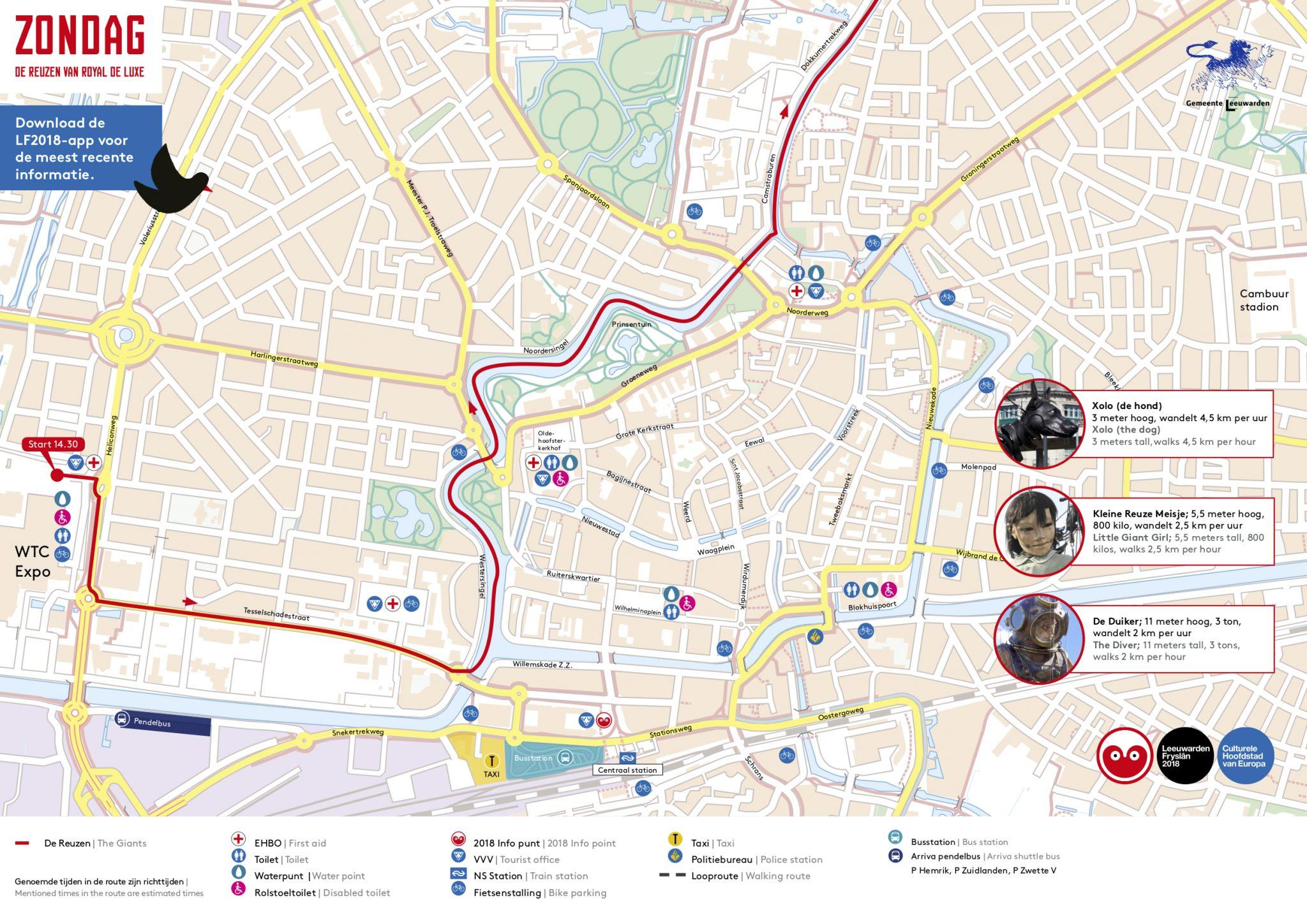 Route van de Reuzen van Royal de Luxe bekend  Ljouwertnu
