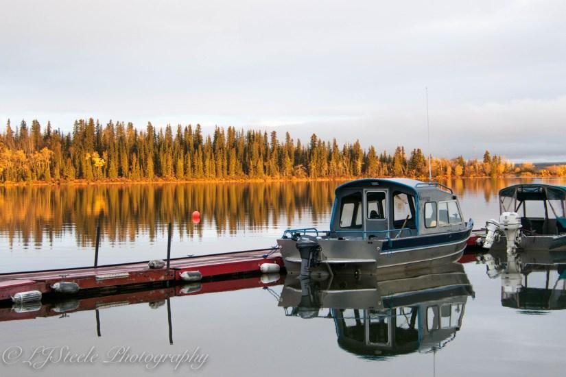 Alaska, Lake Louise, Boat, glassy lake, morning, Fall, Autum colors
