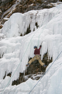 Spanning the frozen waterfall
