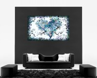 Duck Egg Blue Abstract Heart Canvas Wall Art Picture Print ...