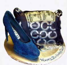Blue and Silver Coach Cake W/Edible Money