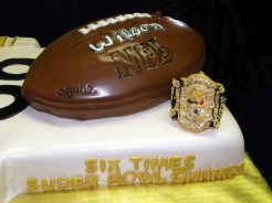 Pittsburgh Steelers Football and Super Bowl Ring Cake