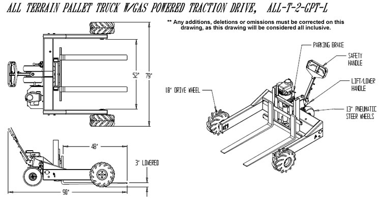 All Terrain Pallet Truck with Gas Powered Traction Drive