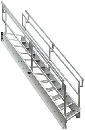 Aluminum Osha Stair With Outboard Guard Galvanized Stairs | Prefabricated Exterior Metal Stairs | Stair Case | Stairways | Aluminum | Wrought Iron | Stair Treads