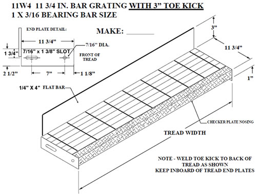 Bar Grating Treads with Toe Kick, Bar Grating Stair Treads