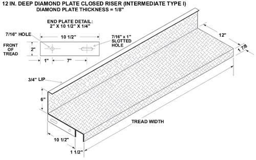Closed Riser Diamond Plate Steel Stair Tread, Galvanized