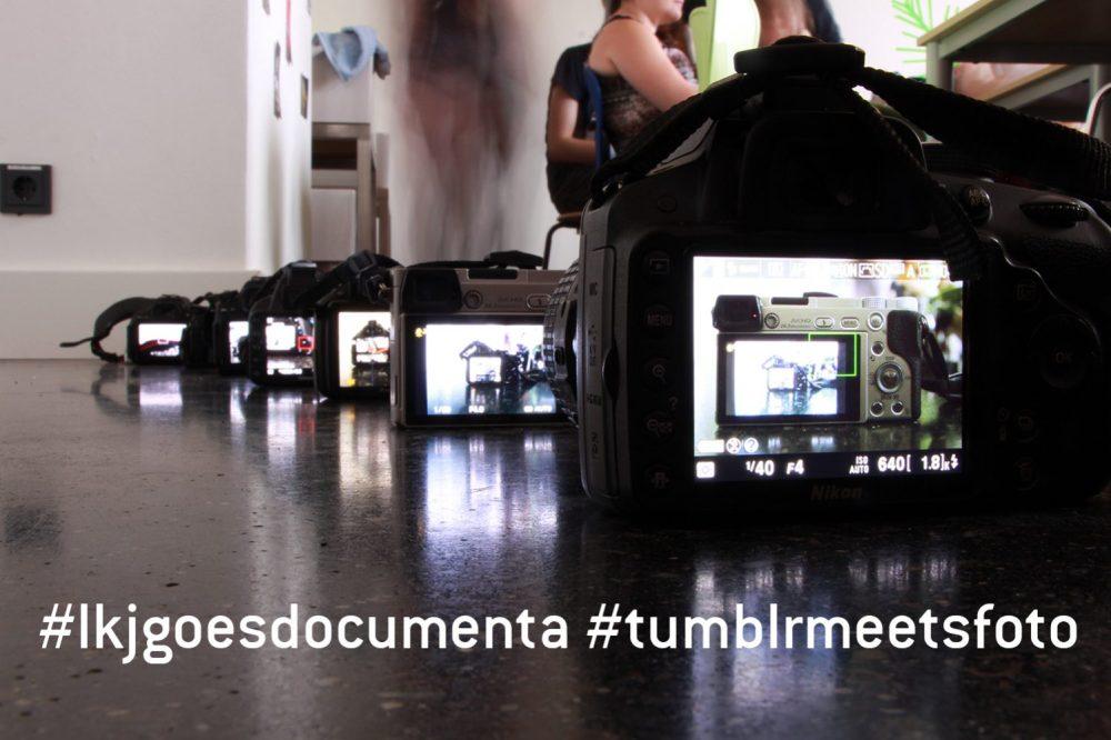 7 Kameras hintereinander mit dem Blick durch das Kamerafenster