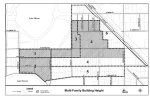 """Multi-family development in Sub-Districts 1, 2, & 3, and in Sub-District 4, along E. Orange Street and to the north, as illustrated in Attachment ""C-1,"" shall have a maximum building height of four (4) stories, not to exceed a total height of sixty (60) feet. """