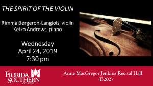 The Spirit of the Violin @ Anne MacGregor Jenkins Recital Hall (B202) - Davis Performing Arts Center |  |  |