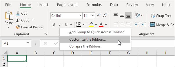 Kustomisasi Pita di Excel