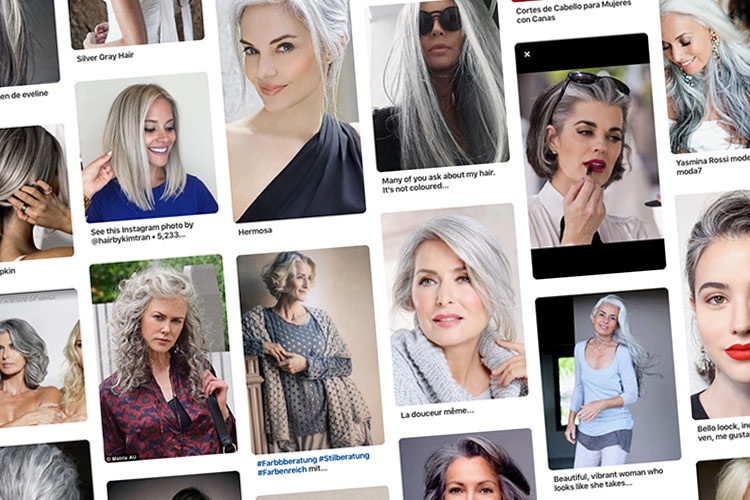 Tablero Pinterest. las canas son tendencia