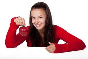 woman with apple
