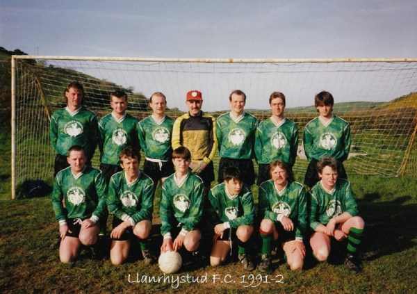 Llanrhystud Football Club team photo 1991-2 football season, Cambrian Football League.